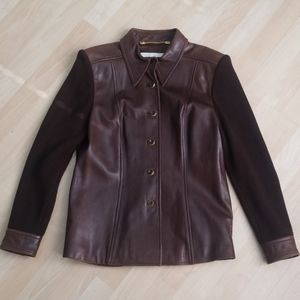 Vintage Escada brown leather and knit jacket
